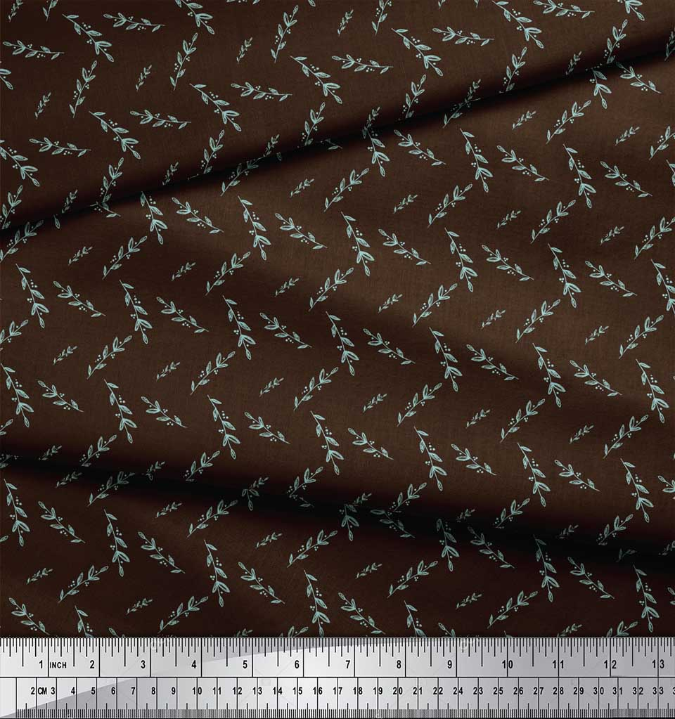 Soimoi-Brown-Cotton-Poplin-Fabric-Leaves-Leaves-Print-Fabric-by-9BY thumbnail 4