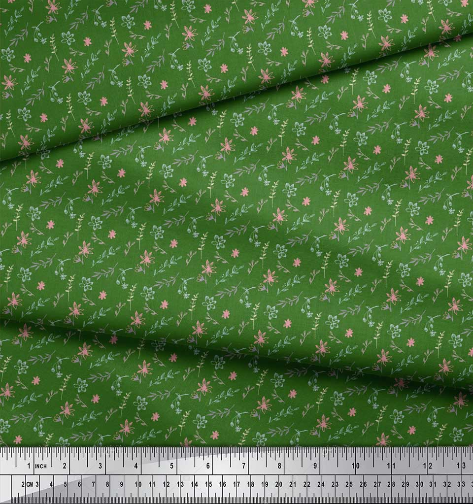 Soimoi-Green-Cotton-Poplin-Fabric-Floral-amp-Leaves-Print-Fabric-by-5Ik thumbnail 3