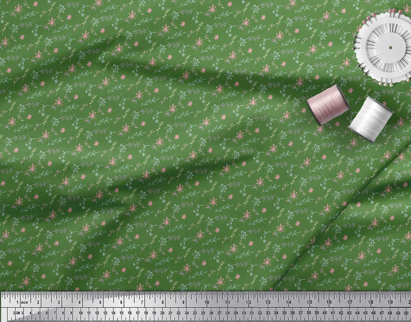 Soimoi-Green-Cotton-Poplin-Fabric-Floral-amp-Leaves-Print-Fabric-by-5Ik thumbnail 4