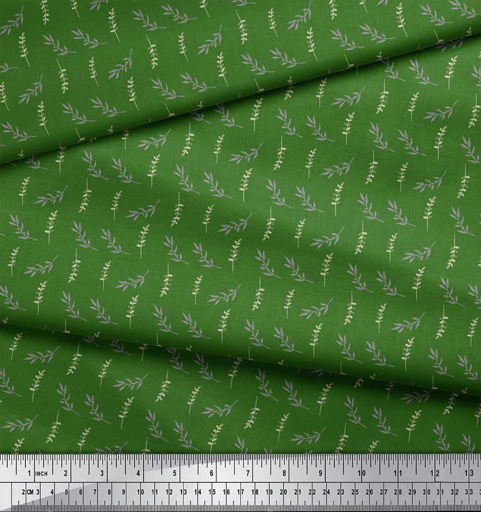 Soimoi-Green-Cotton-Poplin-Fabric-Leaves-Leaves-Fabric-Prints-By-Bu9 thumbnail 4