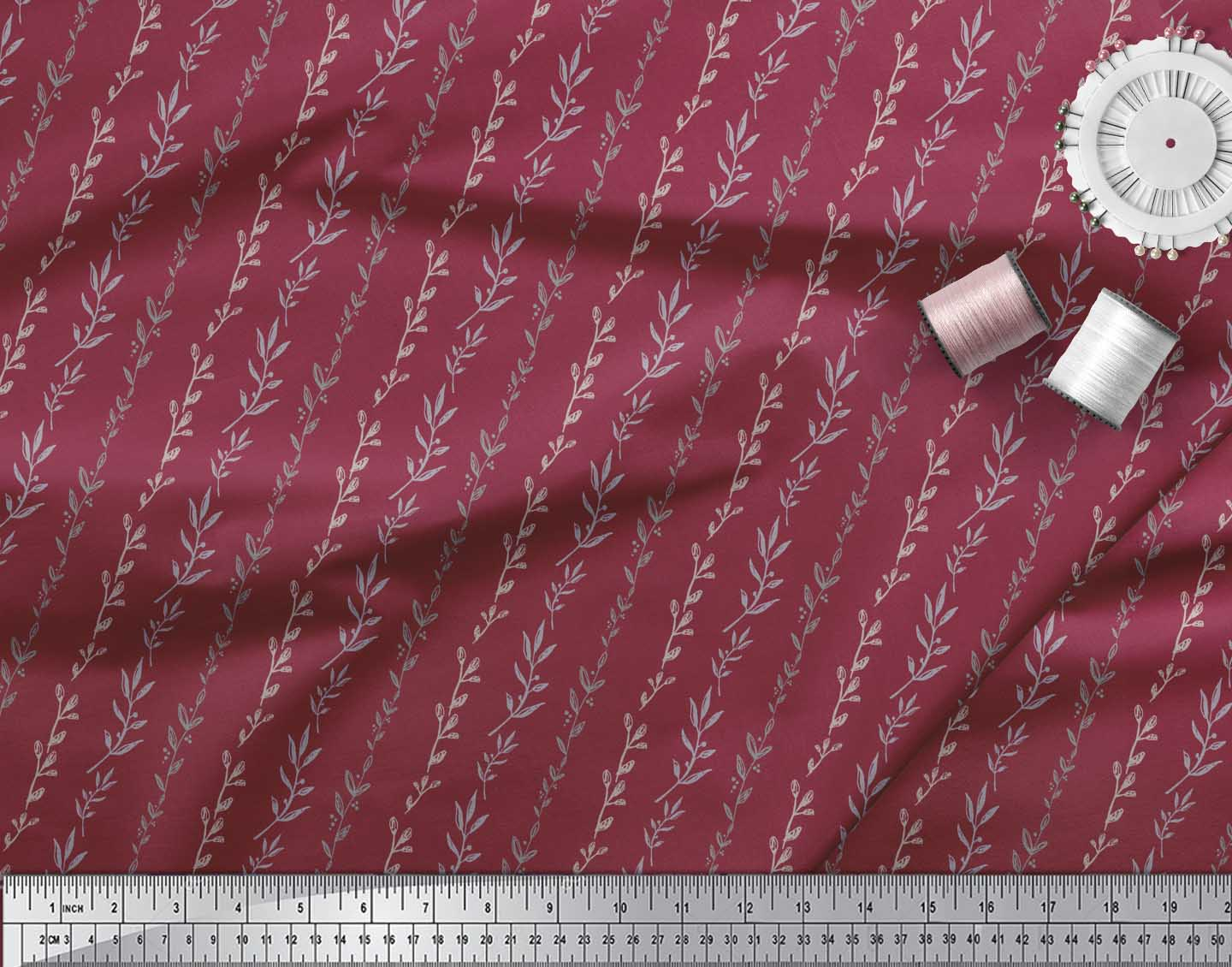 Soimoi-Red-Cotton-Poplin-Fabric-Buds-amp-Leaves-Print-Sewing-Fabric-OWg thumbnail 3