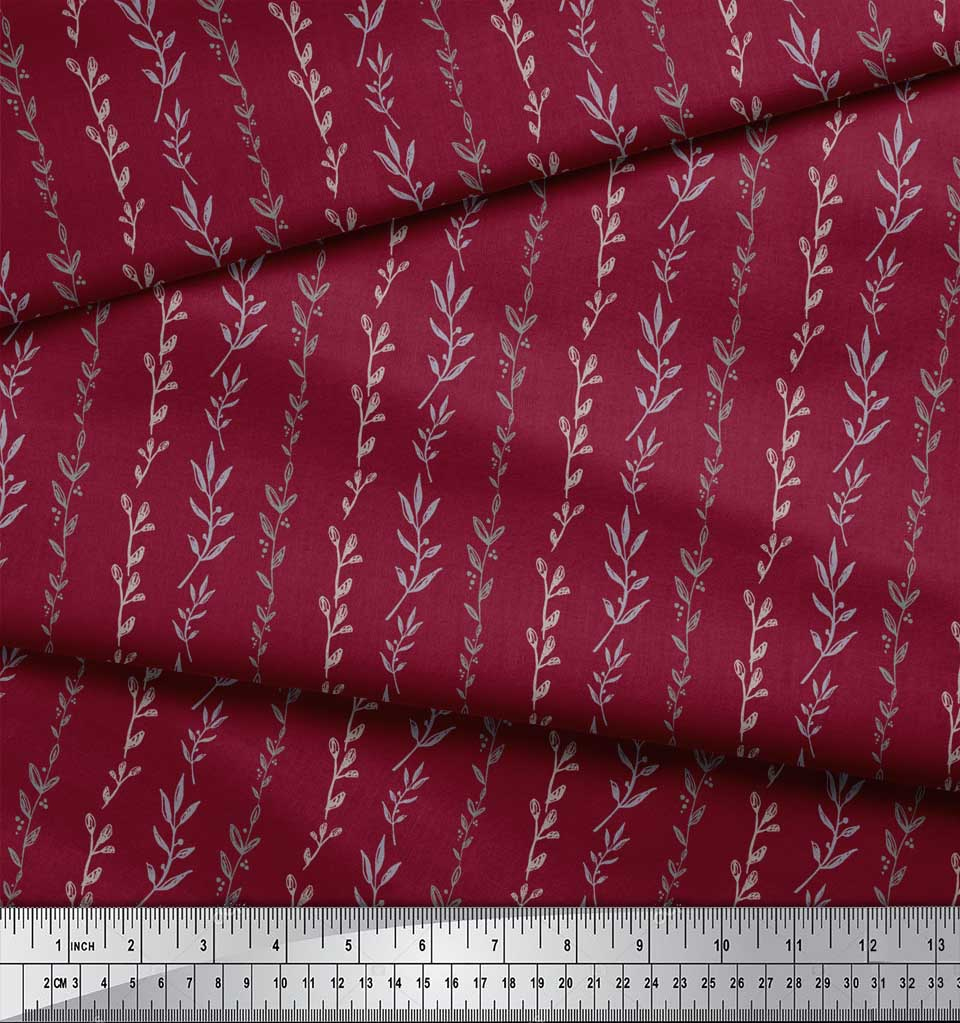 Soimoi-Red-Cotton-Poplin-Fabric-Buds-amp-Leaves-Print-Sewing-Fabric-OWg thumbnail 4