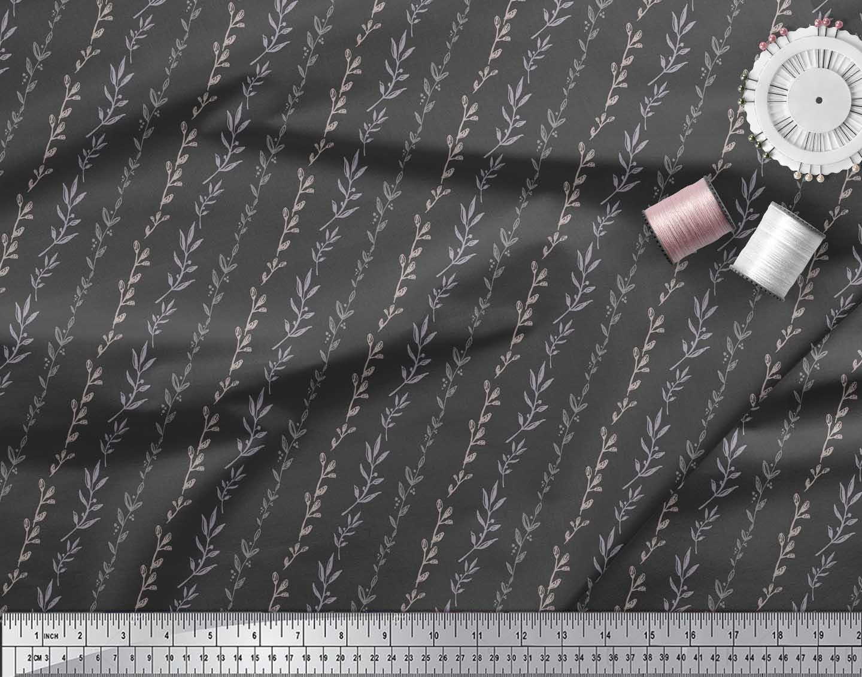 Soimoi-Gray-Cotton-Poplin-Fabric-Buds-amp-Leaves-Print-Fabric-by-metre-Ghn thumbnail 3