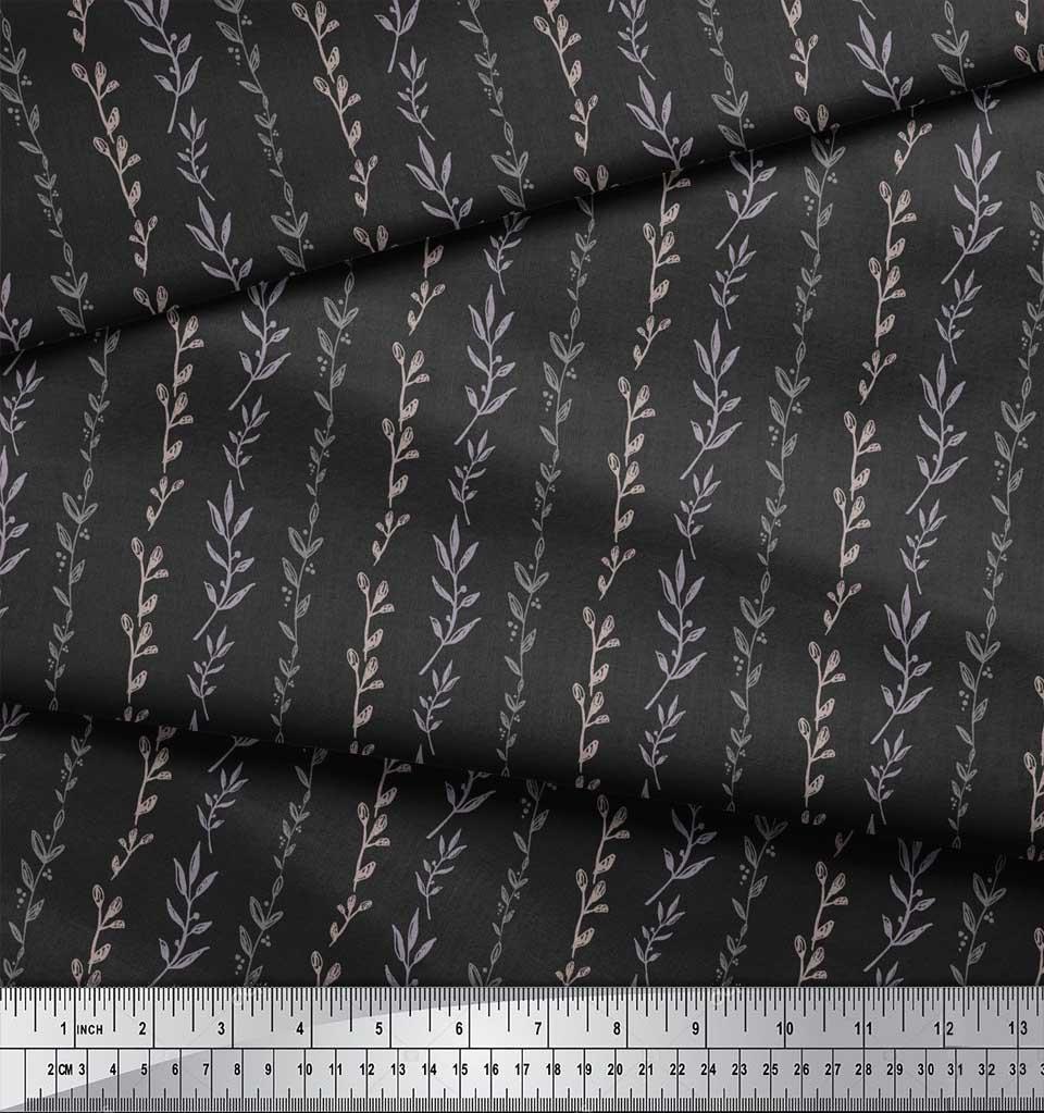 Soimoi-Gray-Cotton-Poplin-Fabric-Buds-amp-Leaves-Print-Fabric-by-metre-Ghn thumbnail 4