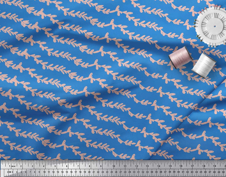 Soimoi-Blue-Cotton-Poplin-Fabric-Stripe-amp-Leaves-Printed-Craft-Fabric-EDk thumbnail 3