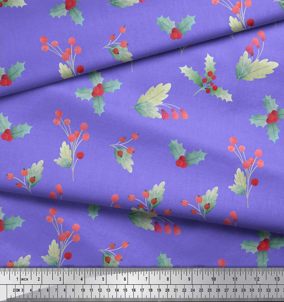 Soimoi-Purple-Cotton-Poplin-Fabric-Red-Berries-amp-Holly-Leaves-Printed-rdx thumbnail 3