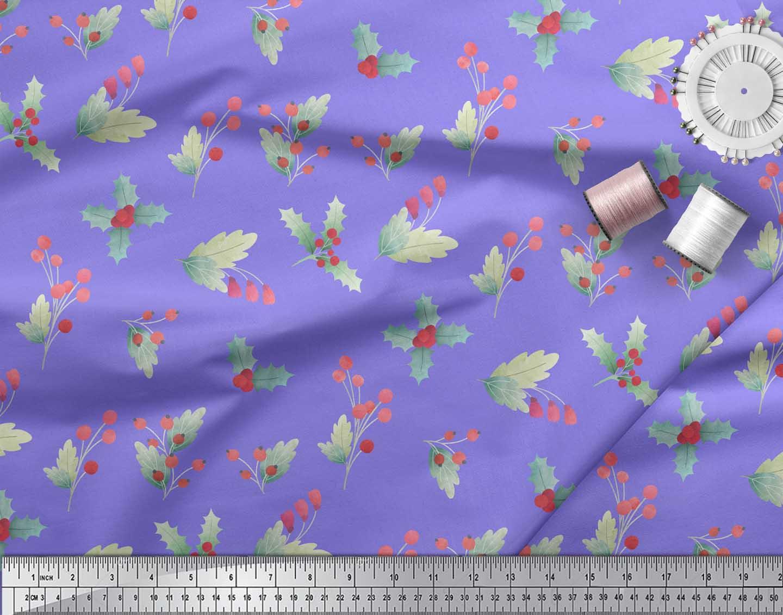 Soimoi-Purple-Cotton-Poplin-Fabric-Red-Berries-amp-Holly-Leaves-Printed-rdx thumbnail 4