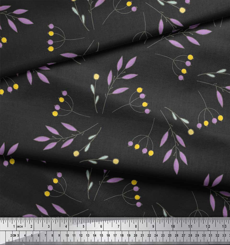 Soimoi-Gray-Cotton-Poplin-Fabric-Berries-Leaves-Printed-Craft-Fabric-yZk thumbnail 3