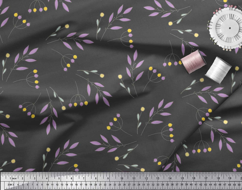 Soimoi-Gray-Cotton-Poplin-Fabric-Berries-Leaves-Printed-Craft-Fabric-yZk thumbnail 4