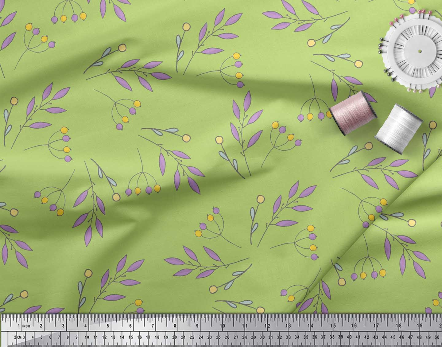 Soimoi-Green-Cotton-Poplin-Fabric-Berries-Leaves-Print-Fabric-by-4AW thumbnail 3