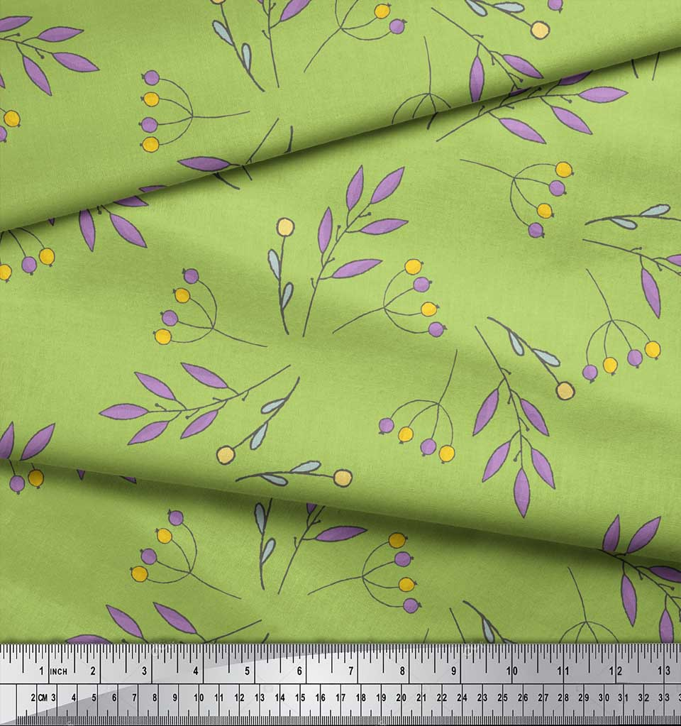 Soimoi-Green-Cotton-Poplin-Fabric-Berries-Leaves-Print-Fabric-by-4AW thumbnail 4