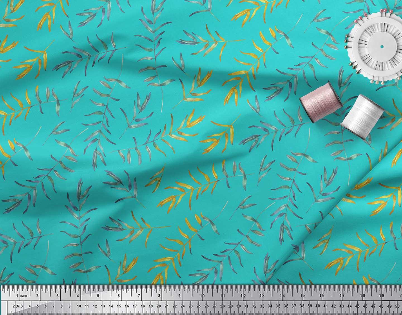 Soimoi-Green-Cotton-Poplin-Fabric-Flower-Leaves-Print-Sewing-Fabric-sgD thumbnail 3