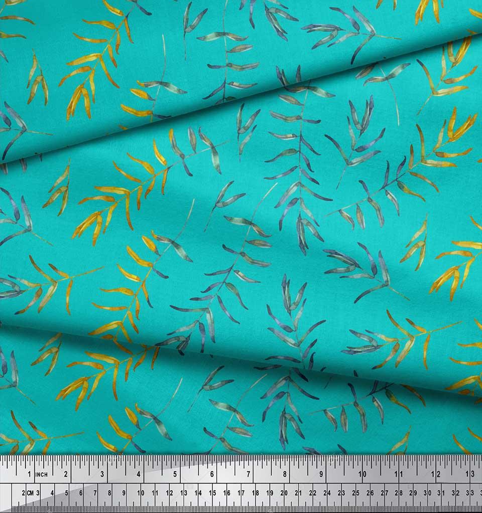 Soimoi-Green-Cotton-Poplin-Fabric-Flower-Leaves-Print-Sewing-Fabric-sgD thumbnail 4