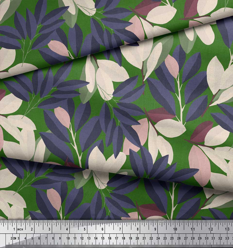 Soimoi-Green-Cotton-Poplin-Fabric-Laurel-Leaves-Print-Sewing-Fabric-aSZ thumbnail 3