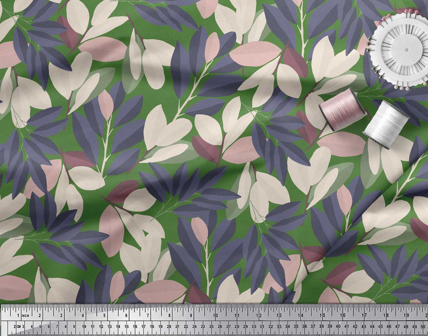 Soimoi-Green-Cotton-Poplin-Fabric-Laurel-Leaves-Print-Sewing-Fabric-aSZ thumbnail 4