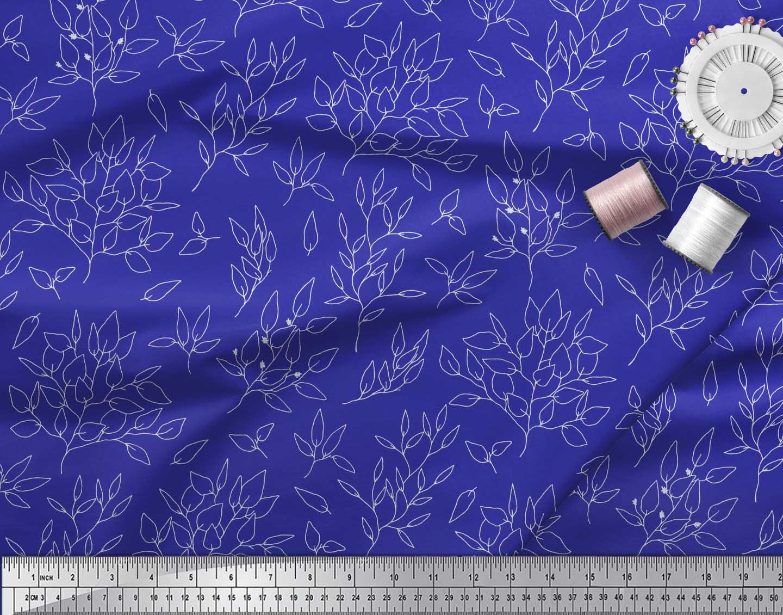 Soimoi-Blue-Cotton-Poplin-Fabric-Leaves-Leaves-Printed-Fabric-1-azE thumbnail 3