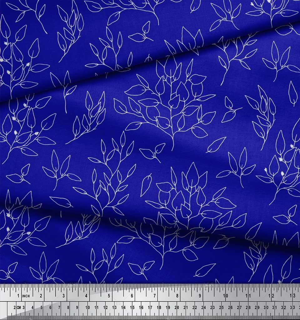 Soimoi-Blue-Cotton-Poplin-Fabric-Leaves-Leaves-Printed-Fabric-1-azE thumbnail 4