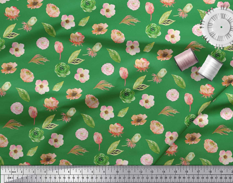Soimoi-Green-Cotton-Poplin-Fabric-Anemone-amp-Leaves-Print-Fabric-DUJ thumbnail 3