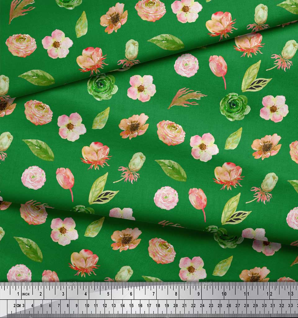 Soimoi-Green-Cotton-Poplin-Fabric-Anemone-amp-Leaves-Print-Fabric-DUJ thumbnail 4