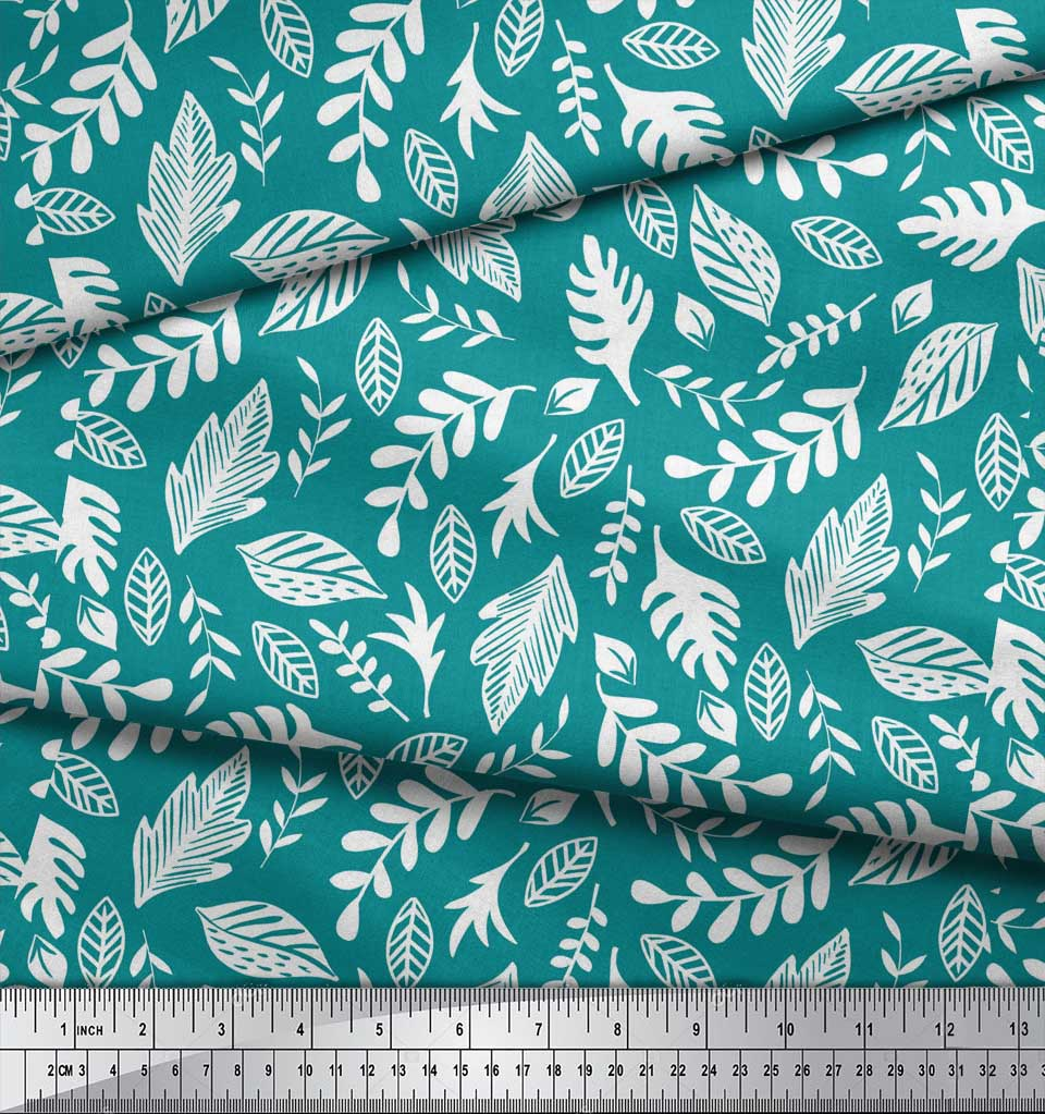 Soimoi-Green-Cotton-Poplin-Fabric-Tropical-Leaves-Print-Fabric-by-JQI thumbnail 3