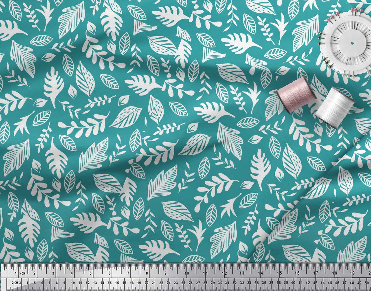 Soimoi-Green-Cotton-Poplin-Fabric-Tropical-Leaves-Print-Fabric-by-JQI thumbnail 4