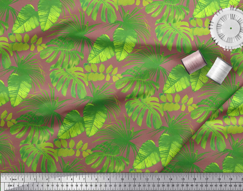 Soimoi-Brown-Cotton-Poplin-Fabric-Tropical-Leaves-Printed-Craft-DW6 thumbnail 3