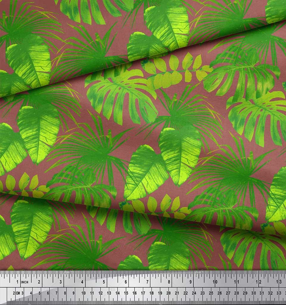 Soimoi-Brown-Cotton-Poplin-Fabric-Tropical-Leaves-Printed-Craft-DW6 thumbnail 4