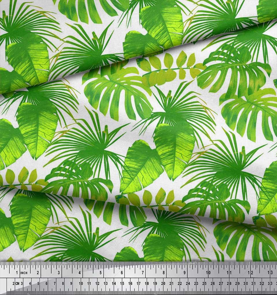 Soimoi-White-Cotton-Poplin-Fabric-Tropical-Leaves-Print-Fabric-by-cVA thumbnail 3