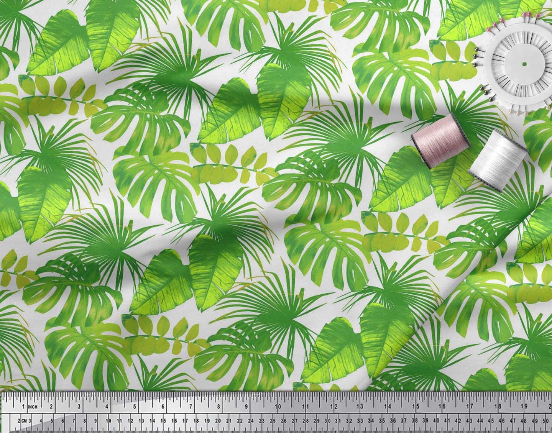 Soimoi-White-Cotton-Poplin-Fabric-Tropical-Leaves-Print-Fabric-by-cVA thumbnail 4
