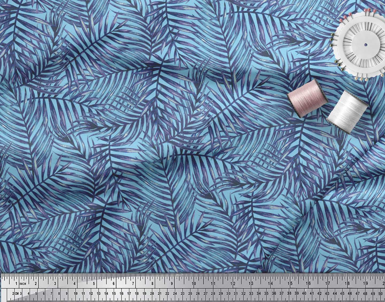 Soimoi-Blue-Cotton-Poplin-Fabric-Pine-Leaves-Print-Fabric-by-the-G6V thumbnail 3