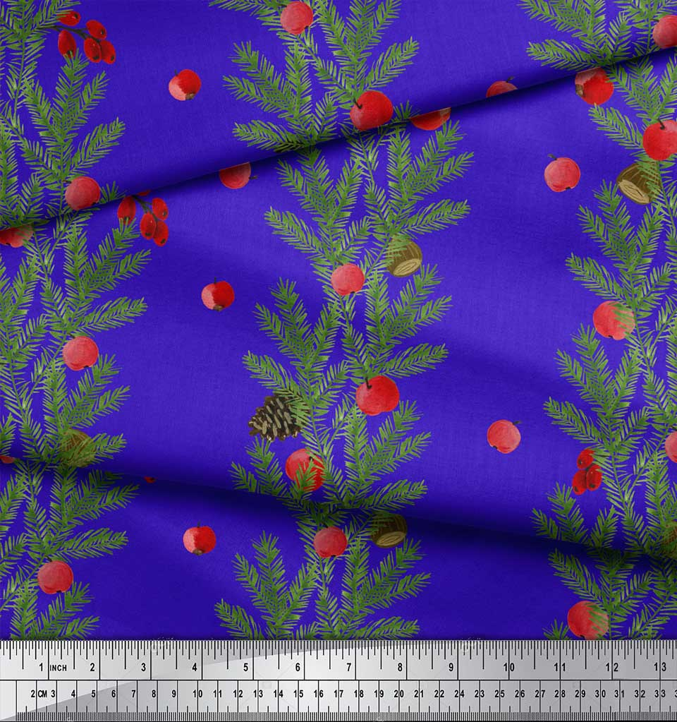 Soimoi-Blue-Cotton-Poplin-Fabric-Cherry-amp-Pine-Leaves-Print-Fabric-boY thumbnail 4
