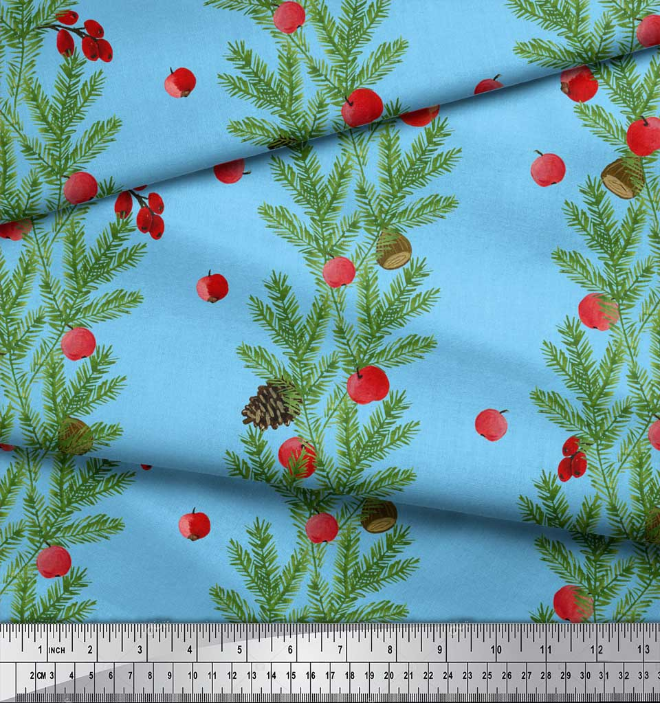 Soimoi-Blue-Cotton-Poplin-Fabric-Cherry-amp-Pine-Leaves-Print-Fabric-hb7 thumbnail 3