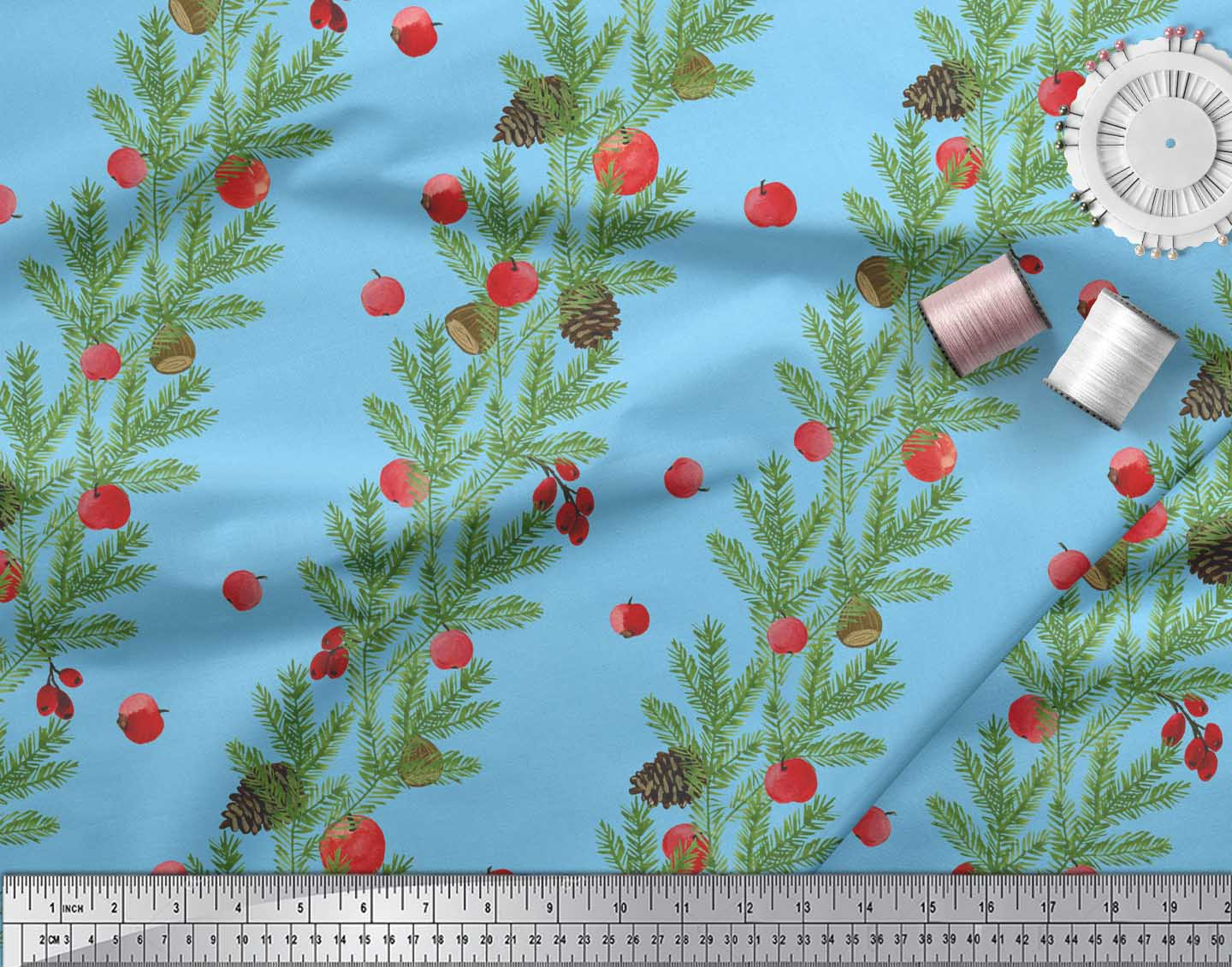 Soimoi-Blue-Cotton-Poplin-Fabric-Cherry-amp-Pine-Leaves-Print-Fabric-hb7 thumbnail 4