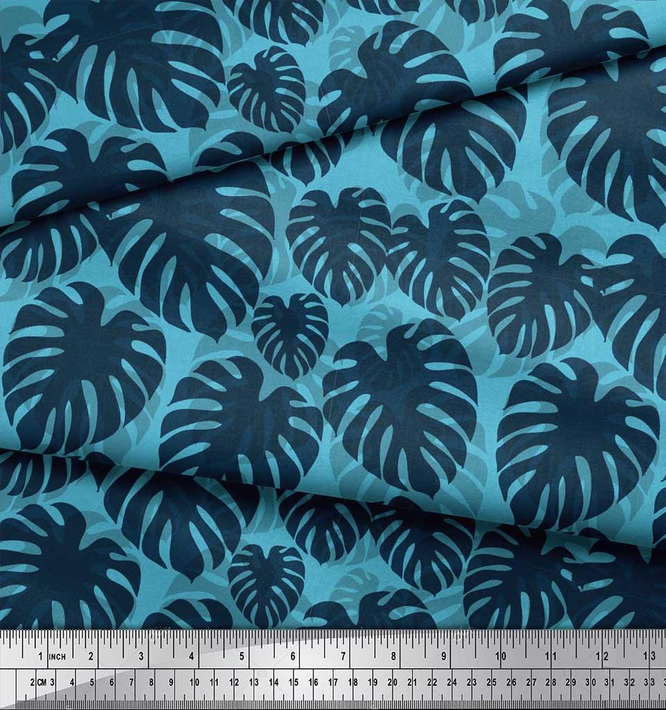 Soimoi-Blue-Cotton-Poplin-Fabric-Monstera-Leaves-Printed-Fabric-q6h thumbnail 3