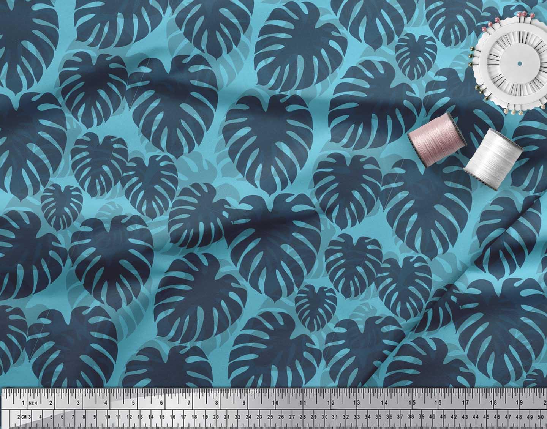 Soimoi-Blue-Cotton-Poplin-Fabric-Monstera-Leaves-Printed-Fabric-q6h thumbnail 4