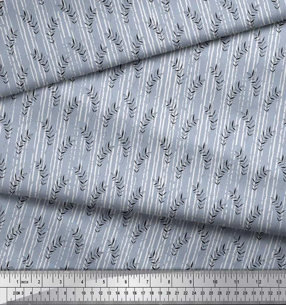 Soimoi-Blue-Cotton-Poplin-Fabric-Seal-Leaves-Printed-Fabric-1-Yard-NvK thumbnail 3