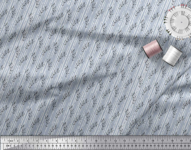 Soimoi-Blue-Cotton-Poplin-Fabric-Seal-Leaves-Printed-Fabric-1-Yard-NvK thumbnail 4