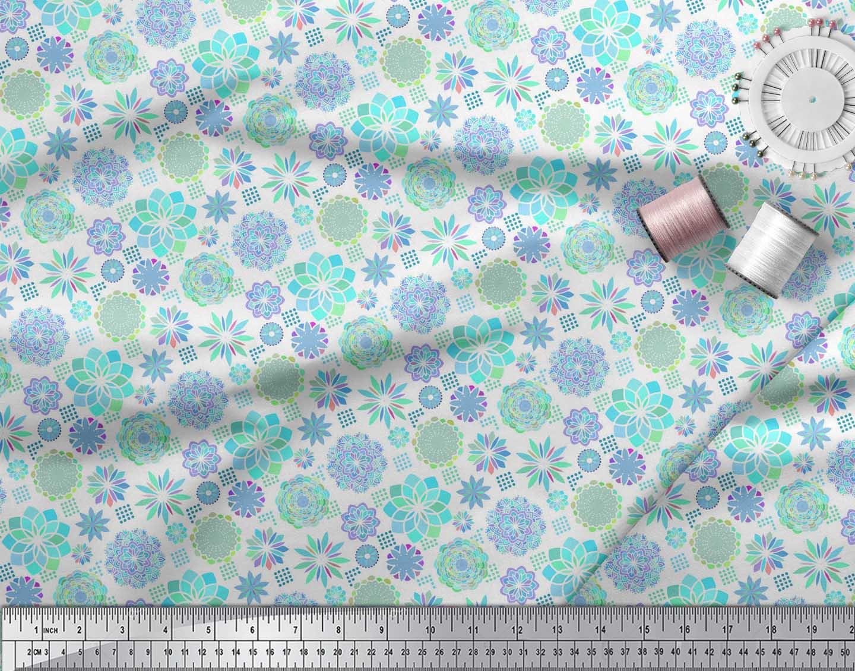 Soimoi-White-Cotton-Poplin-Fabric-Blue-Mandala-Decor-Fabric-Printed-lJc thumbnail 3