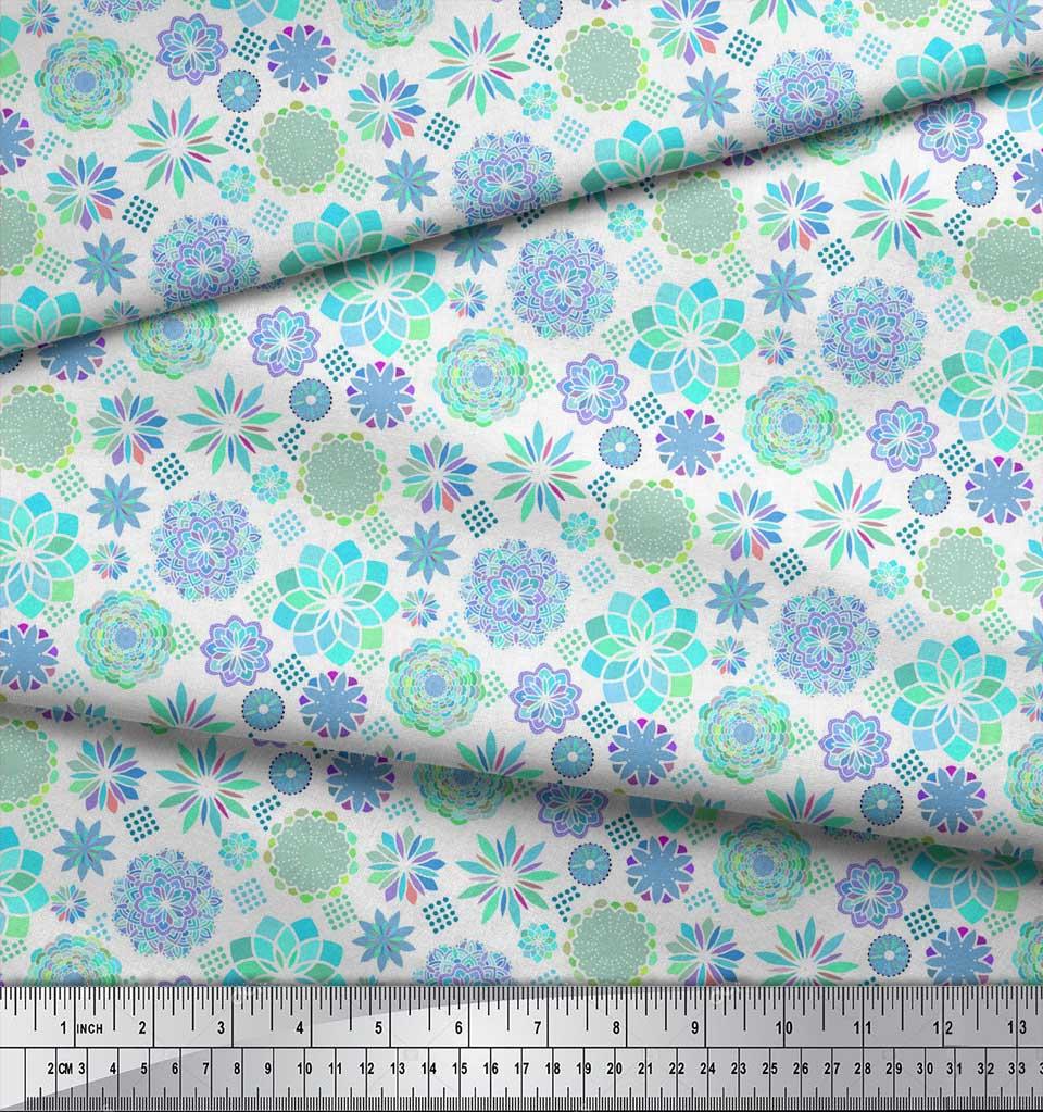 Soimoi-White-Cotton-Poplin-Fabric-Blue-Mandala-Decor-Fabric-Printed-lJc thumbnail 4