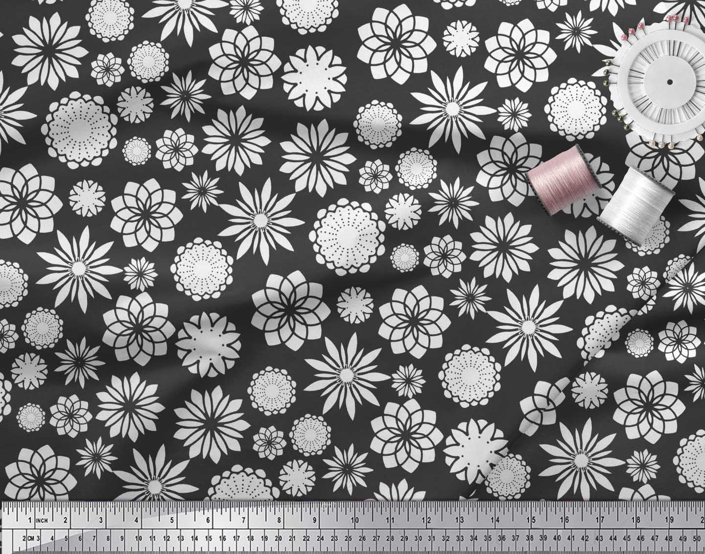 Soimoi-Black-Cotton-Poplin-Fabric-White-Mandala-Print-Fabric-by-lc8 thumbnail 3
