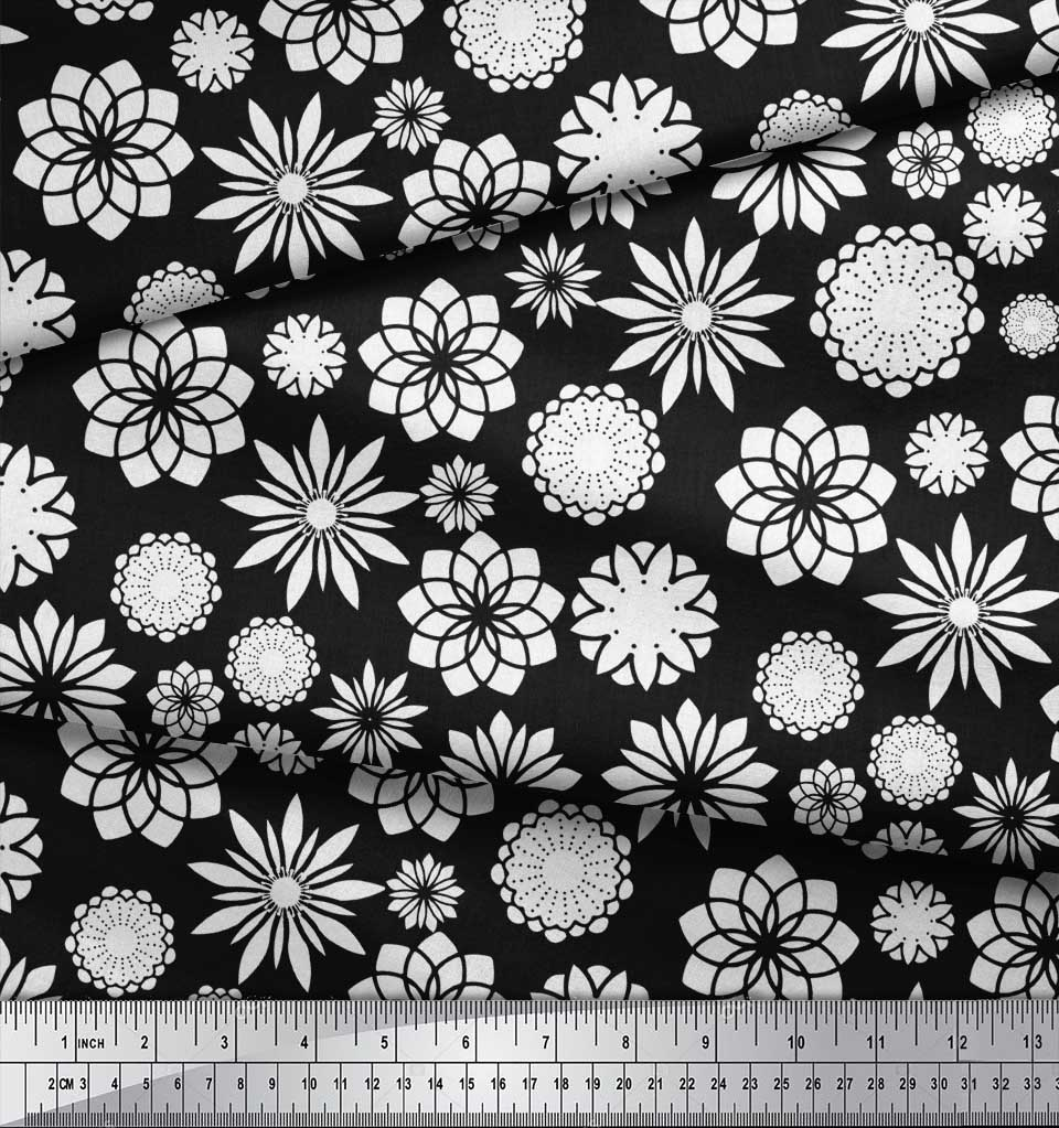 Soimoi-Black-Cotton-Poplin-Fabric-White-Mandala-Print-Fabric-by-lc8 thumbnail 4