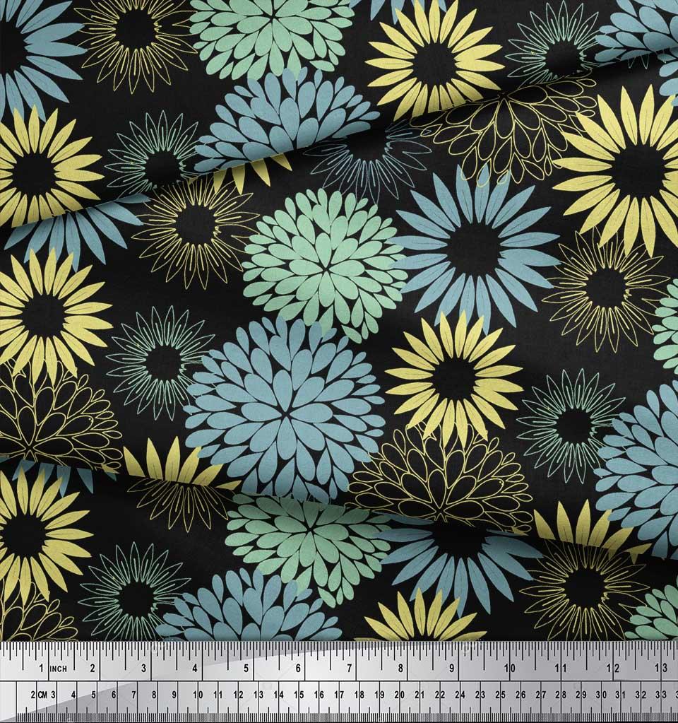 Soimoi-Black-Cotton-Poplin-Fabric-Artistic-Flower-Mandala-Print-T6N thumbnail 3