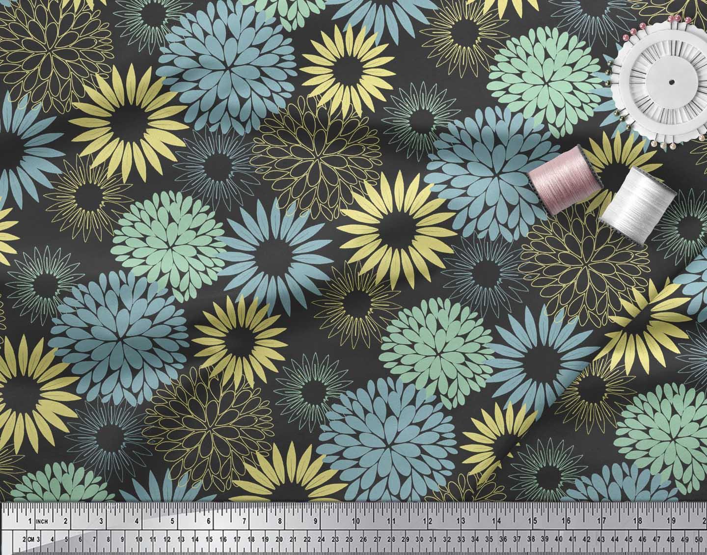 Soimoi-Black-Cotton-Poplin-Fabric-Artistic-Flower-Mandala-Print-T6N thumbnail 4