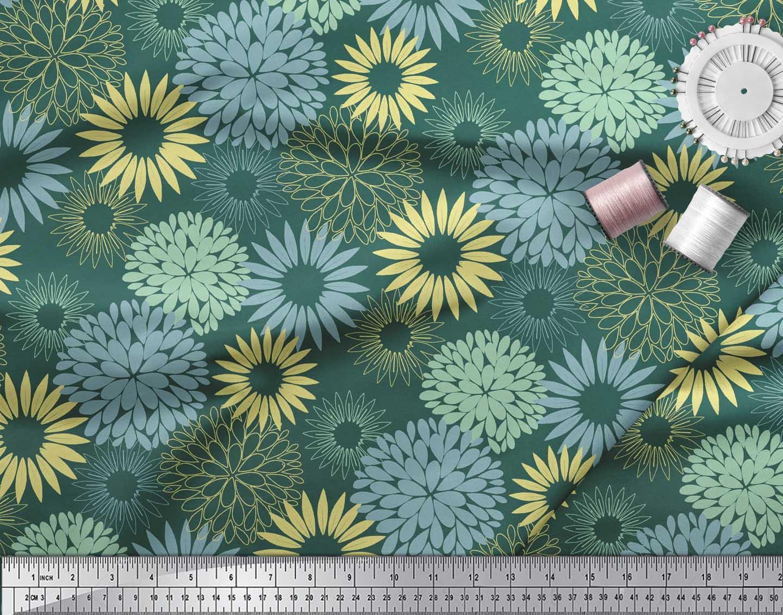 Soimoi-Green-Cotton-Poplin-Fabric-Artistic-Flower-Mandala-Printed-WOV thumbnail 3