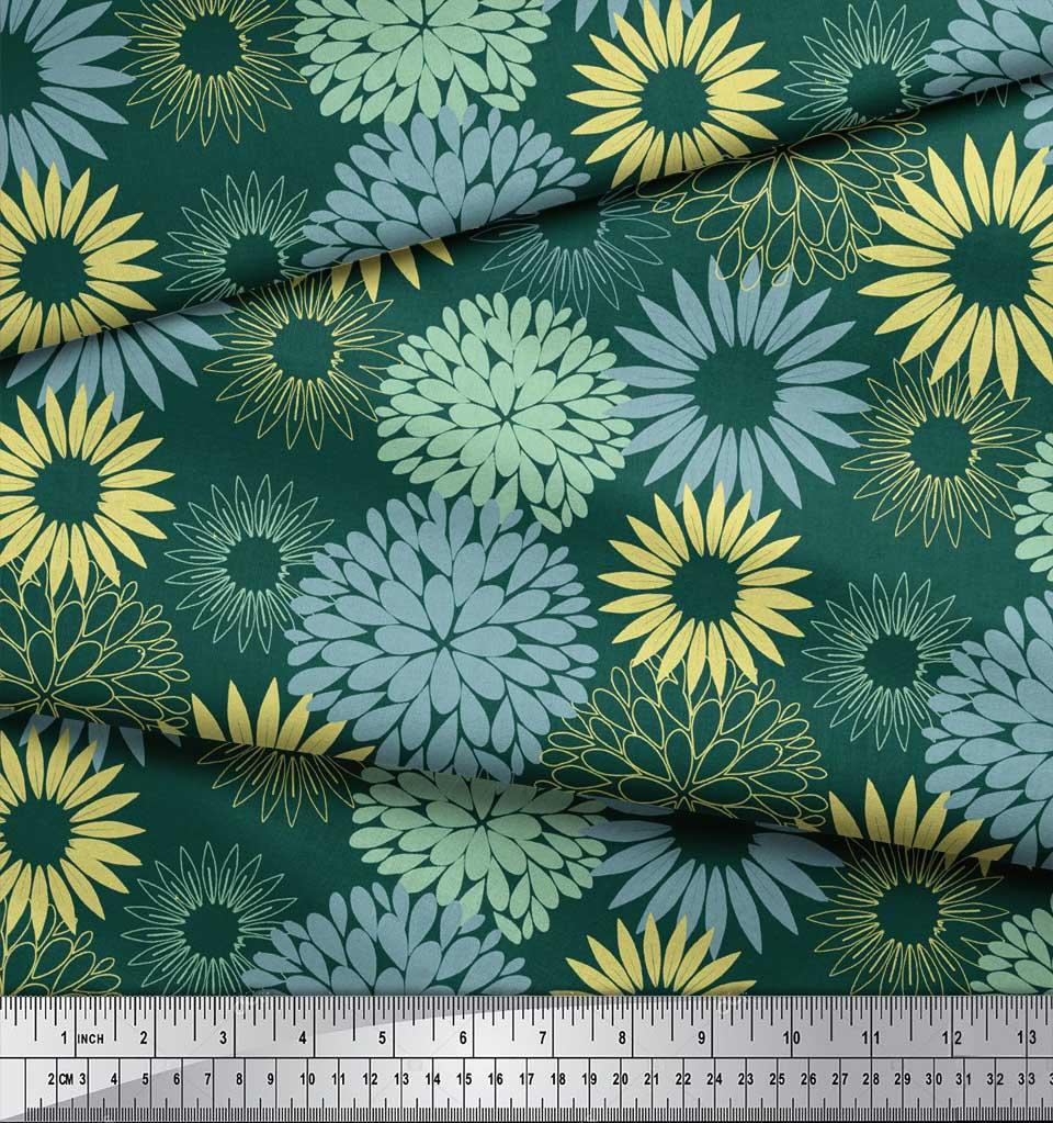 Soimoi-Green-Cotton-Poplin-Fabric-Artistic-Flower-Mandala-Printed-WOV thumbnail 4