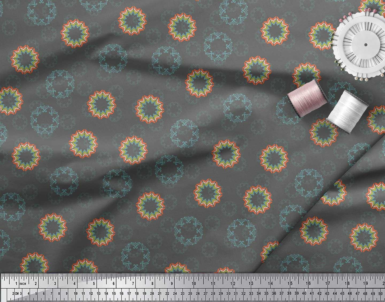 Soimoi-Gray-Cotton-Poplin-Fabric-Artistic-Flower-Mandala-Print-Fabric-jM5 thumbnail 3