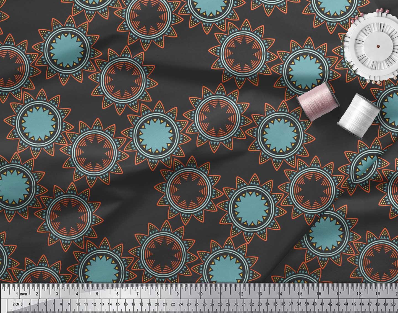 Soimoi-Black-Cotton-Poplin-Fabric-Sun-Mandala-Print-Sewing-Fabric-PZ8 thumbnail 3