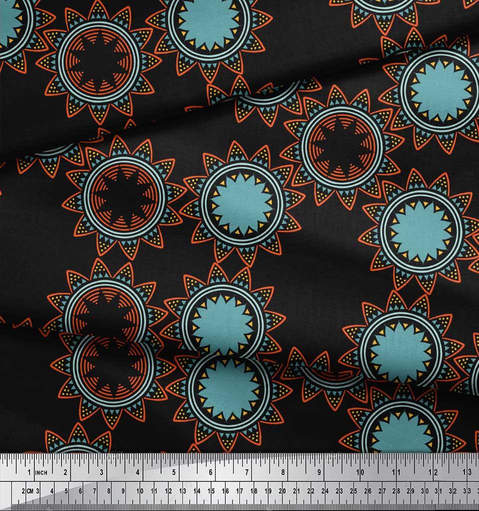 Soimoi-Black-Cotton-Poplin-Fabric-Sun-Mandala-Print-Sewing-Fabric-PZ8 thumbnail 4
