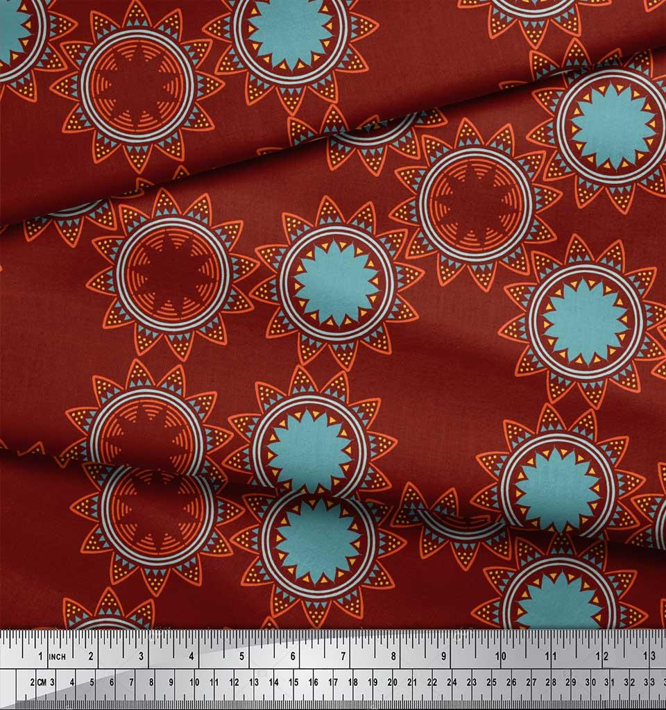 Soimoi-Red-Cotton-Poplin-Fabric-Sun-Mandala-Printed-Fabric-1-metre-oJr thumbnail 3