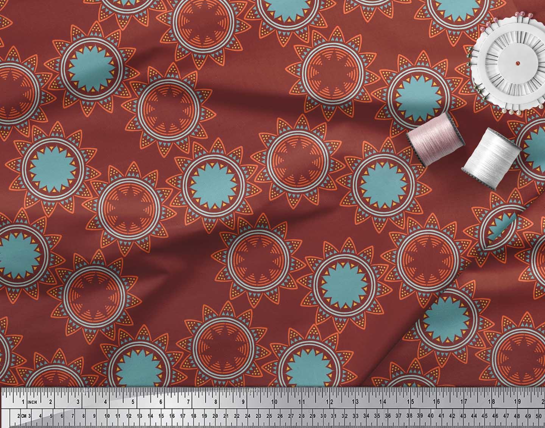 Soimoi-Red-Cotton-Poplin-Fabric-Sun-Mandala-Printed-Fabric-1-metre-oJr thumbnail 4